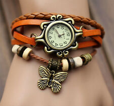 Top Orange Butterfly Bracelet Leather Women Quartz watch Bangle Retro Wristwatch