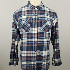 GUESS Men's XL Shirt Logan Classic Fit Plaid Blue Button Front Long Sleeve