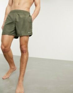 """Nike Men's Solid Lap 9"""" Volley Short Swim Trunk,OLIVE,X LARGE"""