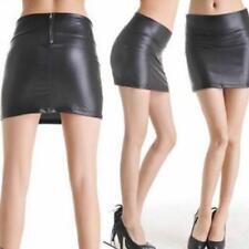 Elegant Women High Waist Black Faux Leather Tight Zip Stretch Mini-skirt Dress F
