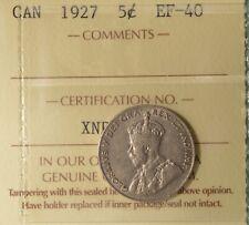 1927 Canada 5 Cents  - Graded ICCS EF-40 -  Serial XNP 741