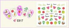 Nail Art Water Decals Transfers Stickers Summer Palm Trees Pineapple Fruit E817