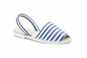 Damen Sandale   Menorca-Sandale - Avarcas Menorquinas   Beach-Stripes Blau + Rot