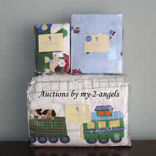 Pottery Barn Kids Train Junction Dog Puppy Twin Quilt+Sham+Sheet Set *Christmas