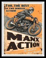 MANX ACTION ISLE OF MAN TT MOTORCYCLE MOTORBIKE BIKER METAL PLAQUE TIN SIGN 1643