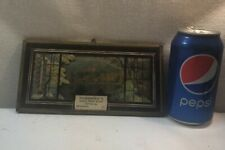 Vtg Metal Frame Glass Window Silhouette Fall Lake House Thermometer Advertising