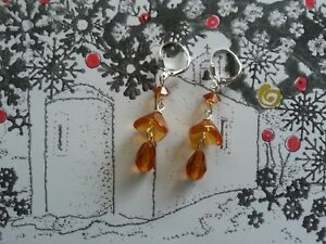 Vintage AMBER CITRINE GLASS flower beads EARRINGS to match antique necklaces  SP
