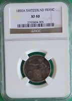1850 A Switzerland Franc Silver Swiss Coin Certified 1850A  XF40 NGC Extra Fine