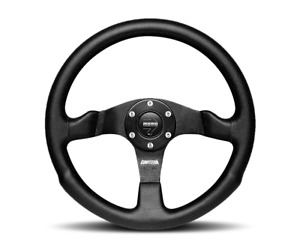 MOMO Competition Steering Wheel Black Leather 350mm + MOMO Hub Adapter for Jeep