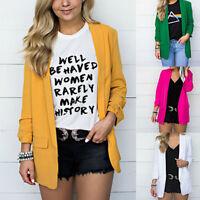 Women Office Open Front Cardigan Long Sleeve Blazer Casual Jacket Coat Outwear L