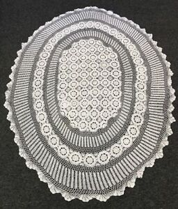 """72x126"""" Oval White 100% Cotton Handmade Crochet Lace Tablecloth"""