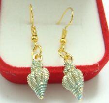 Pretty New Gold Plated Blue Enamel Conch Shell Drop Dangle Earrings