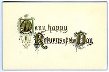 MANY HAPPY RETURNS of the DAY~1910s ANTIQUE EMBOSSED BIRTHDAY GREETINGS POSTCARD
