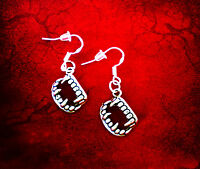BUY 3 GET 1 FREE~SILVER VAMPIRE FANGS TEETH DANGLE CHARM EARRINGS~HALLOWEEN GIFT