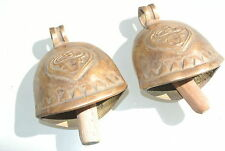 """2 COW BELL Nice sound solid brass old style antique aged look Goat 3.1/2"""" B"""