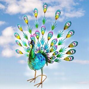 70 cm Fan Tailed Metal Peacock Outdoor Garden Sculpture Decoration Ornament