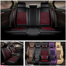 Full Set 5 Seater Car Seat Cover Black+Red PU Leather Breathable All Surrounded