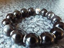 Stunning silver Obsidian gemstone & Sterling Silver stretchy bracelet