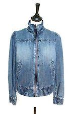 H&M Denim Bomber Jacket - Blue Cotton - UK 10 / 12