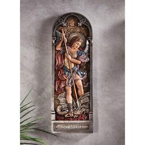 """Saint St. Michael Solid Resin Plaque - 4""""  x 12"""""""