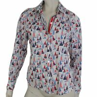 Foxcroft Top Women Size Medium Button Blouse Wrinkle Free Sailboat Red Wht Blue