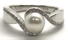 Sterling Silver 925 Round White Pearl - CZ Pave Wave Swirl Elegant Cocktail Ring