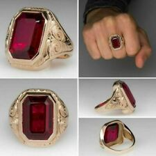 5 CT Estate Ruby Bold Men's Engagement Wedding Ring 14K Yellow Gold Over