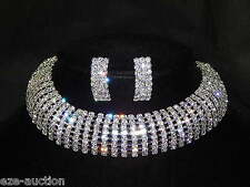 Wedding 8 Row Silver Clear Rhinestone Arch Choker Necklace & Earrings Set /505