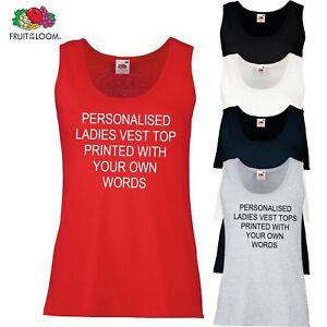 PERSONALISED PRINTED LADIES VEST TOPS - HEN PARTIES HOLIDAYS ETC *
