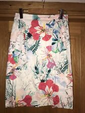 French Connection Tropical Floral Print Knee Length Pencil Skirt Size 10