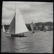 Glass Magic Lantern Slide YACHTS BOWNESS BAY WINDERMERE C1890 VICTORIAN PHOTO