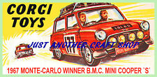 Corgi Toys 339 Mini Cooper Monte Carlo Poster Leaflet Advert 1967 Shop Sign