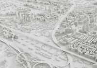 A1 3D City Model Aerial View Poster Art Print 60 x 90cm 180gsm Cool Gift #16323