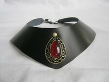 Gothic leather Gorget Collar Cosplay Choker necklace Ruby Teardrop Blood red