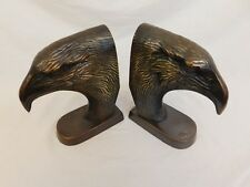 Pair Of Eaglehead Bookends Metal 7'' Tall Unique Decorative Collectable