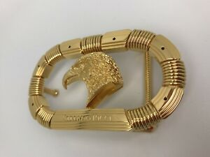Stefano Ricci Belt Buckle Yellow Gold Handmade Eagle 1.3 Wide 24K Gold Plated