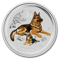 2018 ~ 1/4~OZ. .9999 SILVER ~ LUNAR  YEAR of the DOG ~ PERTH MINT ~COLOR~ $18.88