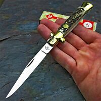 Kissing Crane Genuine Stag Handles Large Folding Pocket Knife with Brass Bolster
