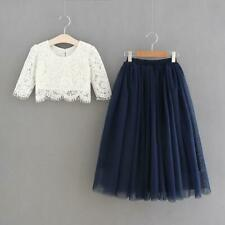 Premium Couture Flower Girl Dress Set - Lace and Tulle Skirt Navy Dark Blue
