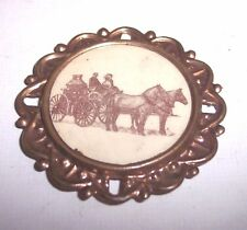 OLD FIREMAN BADGE PIN HORSE DRAWN PUMPER FIRETRUCK 1800s