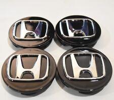 """4x 69 MM 2.75"""" Wheel Center Hub Cap Black Chrome Logo Honda Civic CR-V Accord"""