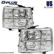 Pair For 2007-2014 Chevy Silverado Chrome Housing Clear Corner Headlights Lamps