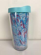 Lilly Pulitzer plastic blue pink graphic sailboat sailing print tumbler cup