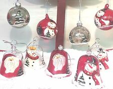 Glass Hand Painted Snowman & Father Christmas Baubles ~ Set of 4 Assorted 6893