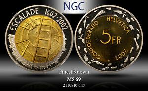 2002-B SWITZERLAND 5 FRANCS NGC MS 69 GENEVA ESCALADE ANNIV. FINEST KNOWN