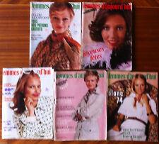 A14) lot de 5 Femmes d'Aujourd'hui 1974; Modes, Beauté, Cuisine, Maison, Lecture