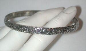 Signed Danecraft Vintage BANGLE bracelet Sterling Silver Fancy Victorian Design