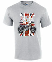 BSA Gold Star Distressed Union Jack T Shirt Grey