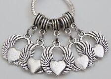 5 Guardian Angel Wing w/ Hearts Fits European Jewelry 20 x 36 & 5 mm Hole   S054