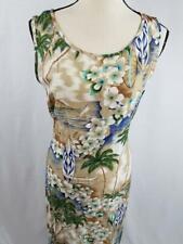 Jane Ashley Womens M Rayon Hawaiian Sleeveless Dress Maxi Surfboard Tan Palm